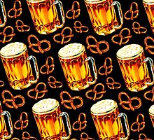 Beer & Pretzel Pattern -Black by Kelly  Gilleran