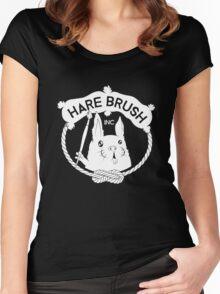 Hare Brush Logo - White Women's Fitted Scoop T-Shirt