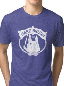 Hare Brush Logo - White Tri-blend T-Shirt