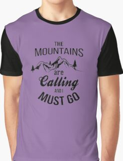typograph Mountains are calling Graphic T-Shirt