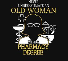 Never Underestimate An Old Woman With A Pharmacy Degree Women's Fitted V-Neck T-Shirt