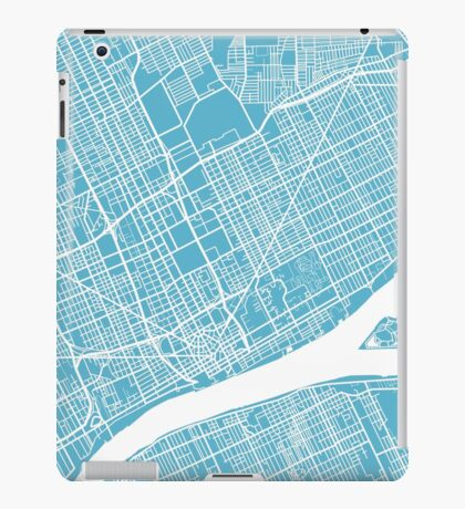 Detroit Map - Baby Blue iPad Case/Skin