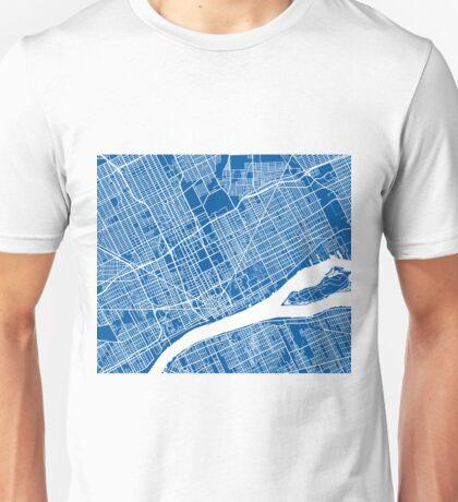 Detroit Map - Deep Blue Unisex T-Shirt