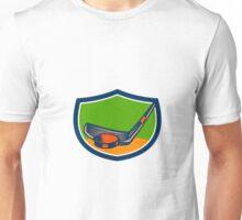 Hockey Puck Stick Crest Retro Unisex T-Shirt