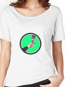 Painter Hand Holding Paintbrush Circle Retro Women's Relaxed Fit T-Shirt
