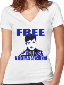 Free Nadiya Savchenko - ONE:Print Women's Fitted V-Neck T-Shirt