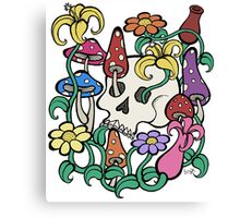 Mushrooms, Flowers, and a Skull Canvas Print
