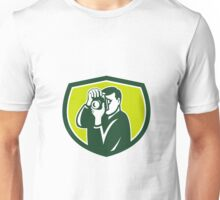 Photographer Shooting DSLR Camera Crest Retro Unisex T-Shirt