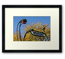 Famous Paris Metropolitain Sign with Golden Trees Background - Take Two Framed Print
