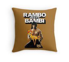 Hercules Returns - Rambo meets Bambi Throw Pillow