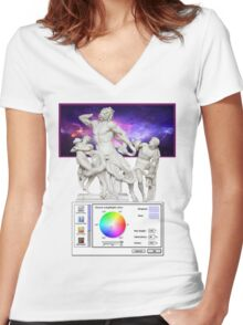 Galaxy Greeks Vaporwave Aesthetics Women's Fitted V-Neck T-Shirt