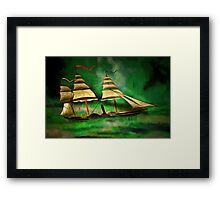 An Early American Sailing Ship/Paddle Steamer Framed Print
