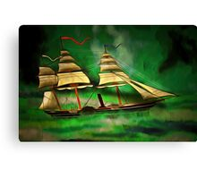 An Early American Sailing Ship/Paddle Steamer Canvas Print