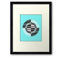 Black and White Circle Art on Blue Framed Print