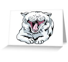 cute white cat yawns Greeting Card