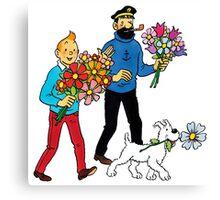 Tintin Haddock Snowy Canvas Print
