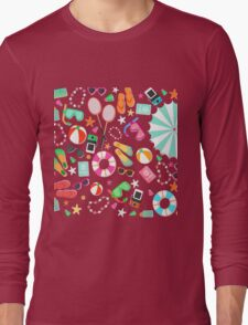 Summer Beach Pattern Holidays Sunny Long Sleeve T-Shirt