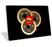 Chinese coin tied with red ribbon Laptop Skin