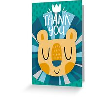 Happy Lion Design and Thank You Card Greeting Card