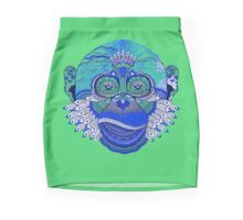 MONKEY COLLECTION BLUE GREEN INDIE FEATHER Mini Skirt