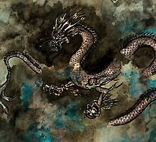 Ink painting of a dragon by Paul Fleet