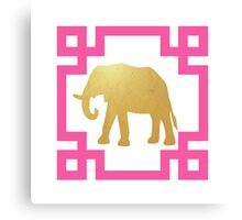 Chinoiserie Chic Greek Key Elephant Canvas Print