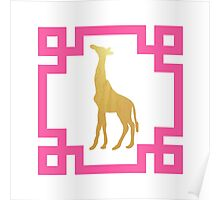 Chinoiserie Chic Preppy Gold and Pink Greek Key Giraffe Poster