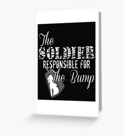 Soldier Responsible For The Bump Military Pregnant Dad To Be Army Marines Pregnancy New Baby Dog Tags Husband Wife Greeting Card