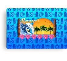 Hawaiian Surfing Blue Tiki Canvas Print