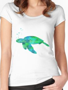Sea Turtle And Bubbles Women's Fitted Scoop T-Shirt