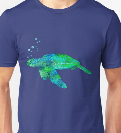 Sea Turtle And Bubbles Unisex T-Shirt