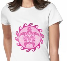 Pink Tribal Turtle Womens Fitted T-Shirt