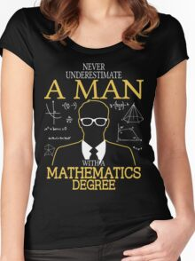 Never Underestimate A Man With A Mathematics Degree Women's Fitted Scoop T-Shirt