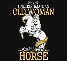 Never Underestimate An Old Woman Who Rides A Horse Women's Fitted V-Neck T-Shirt