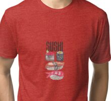 Cute Sushi Typography and Watercolor Sushi Tri-blend T-Shirt