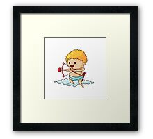 Cartoon Cupid Clouds Framed Print