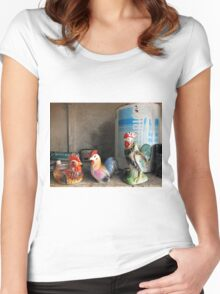 Still Life with three cockerels Women's Fitted Scoop T-Shirt