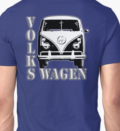 VW, CAMPER, Volkswagen, Van, Split screen, 1966, Volkswagen, Kombi, North America, on Blue Unisex T-Shirt