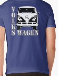 VW, CAMPER, Volkswagen, Van, Split screen, 1966, Volkswagen, Kombi, North America, on Blue Mens V-Neck T-Shirt
