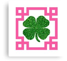 Four Leaf Clover Glitter Greek Key Pink Canvas Print