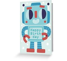 Happy Birthday Robot Card Design Greeting Card