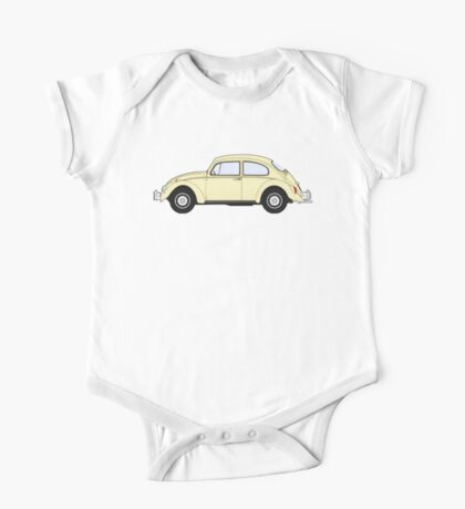 VW, Volkswagen, Beetle, Bug, Motor, Car, Cream One Piece - Short Sleeve