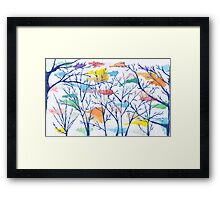 Plastic bags in the breeze, caught in the trees Framed Print