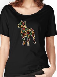 Pitbull Terrier, Autumn Leaves Pattern Women's Relaxed Fit T-Shirt
