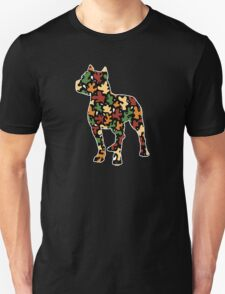 Pitbull Terrier, Autumn Leaves Pattern T-Shirt