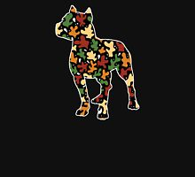 Pitbull Terrier, Autumn Leaves Pattern Womens Fitted T-Shirt
