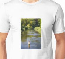 A fly fisherman catches a trout on the River Nadder, Wiltshire, England Unisex T-Shirt