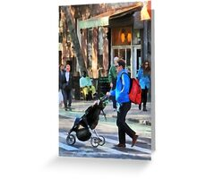 Manhattan NY - Daddy Pushing Stroller Greenwich Village Greeting Card
