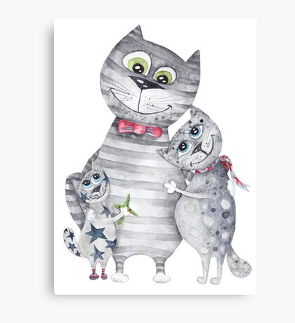 Cute Cat Family Painting  Canvas Print