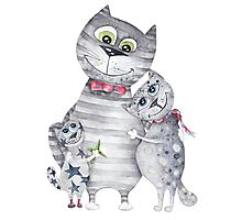 Cute Cat Family Painting  Photographic Print